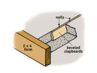Create expansion joints on large concrete areas by using clapboard siding.