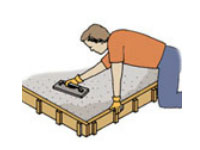 Use a wooden float to smooth the concrete prior to finishing the surface